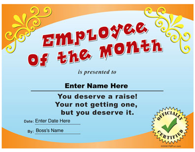 Gag Employee of the month certificate
